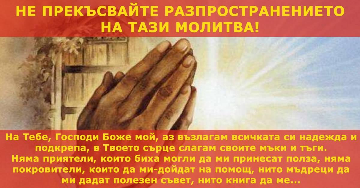 Не прекъсвайте разпространението на тази молитва! Когато сте болни, когато сте смутени, молете се усърдно