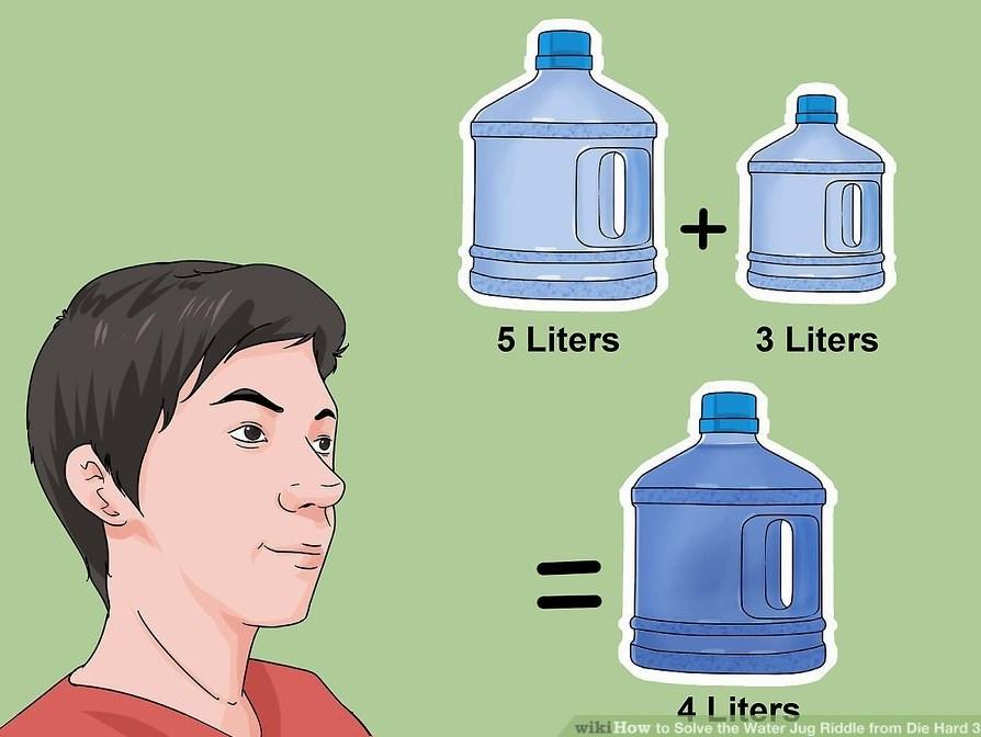 Опитайте се да решите тази задача! Имате две празни бутилки от 5 и 3 литра, но трябва да налеете точно 4 литра