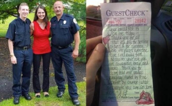 Красива сервитьорка почерпи пожарникари за закуска. Когато след това отвори Facebook, тя не повярва какво бяха направили те