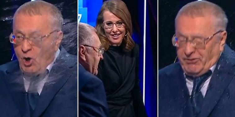 Зрелище в ефир: Ксения Собчак заля Жириновски с вода, а той я изпепели: Ти си отвратителна трътка (ВИДЕО)