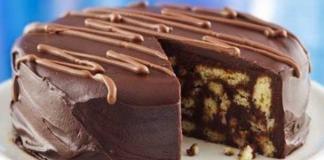 шоколадова торта с бисквити