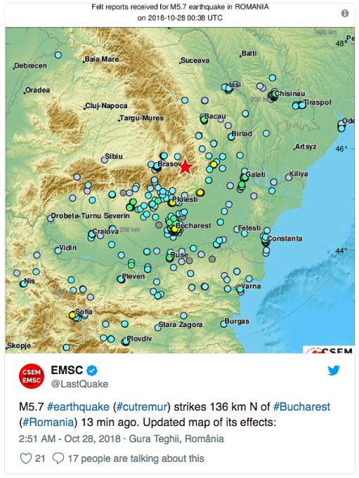 Силно земетресение във Вранча се усети в половин България тази нощ