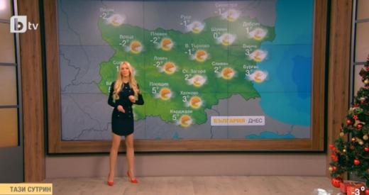 Натали Трифонова шашна зрителите с палав минижуп и пролетна прогноза за Коледа! (СНИМКА)