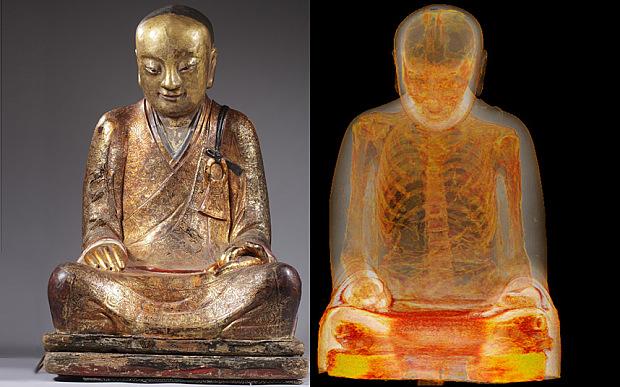 Откриха човешки скелет в най-древната статуя на Буда