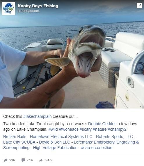 Жена улови странна риба с две усти в езеро (Снимки)