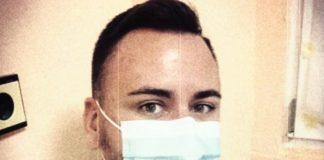 С маска съм