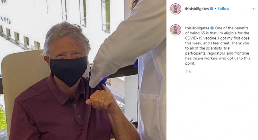 Бил Гейтс се ваксинира срещу Ковид-19 (Снимка)