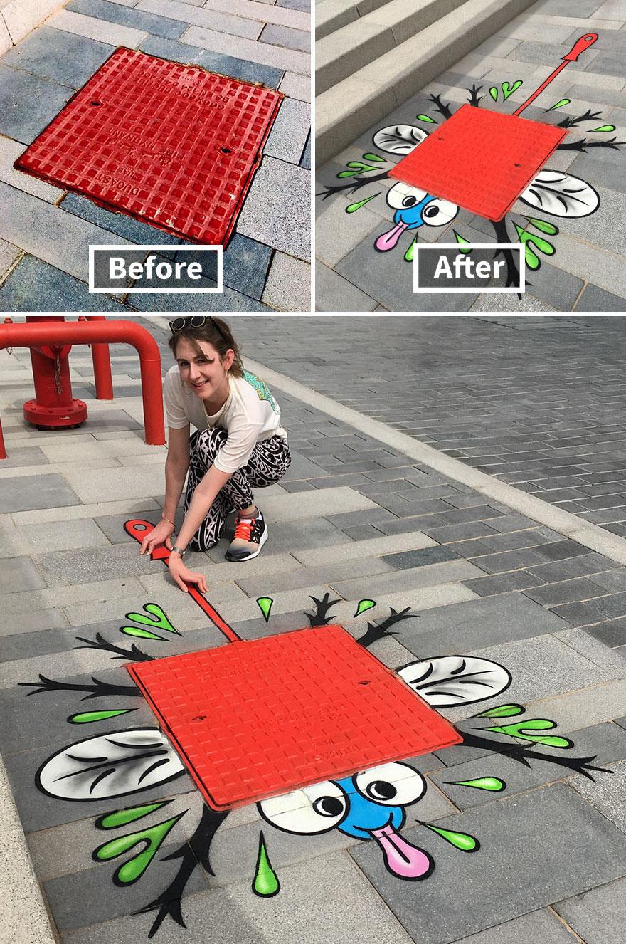 Гениален артист превръща скучни елементи в улично изкуство