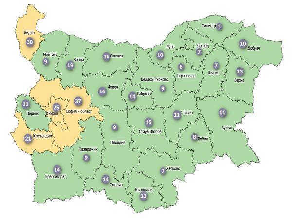 """К-19: България """"свети"""" в зелено, само 4 области са в жълтата зона (КАРТА)"""